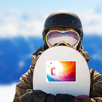 Rainbow Polygon Soaring Volleyball Player Sticker