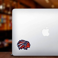 Red White and Blue Chiefs Mascot Sticker