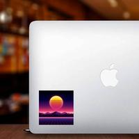 Retro Futuristic Background Sun Sticker
