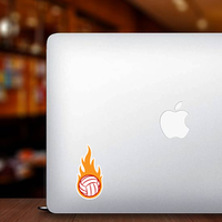 Volleyball Ball With Simple Flames Sticker