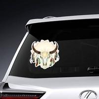 Watercolor Buffalo Skull With Feathers Boho Sticker