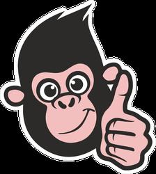Thumbs Up Monkey Logo Sticker
