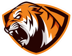 Tiger Mascot Shield Sticker