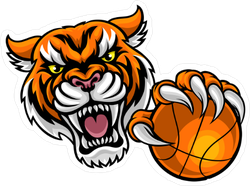 Tigers Basketball Sports Mascot Sticker