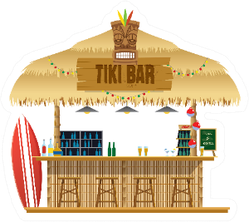 Tiki Bar At The Beach Sticker