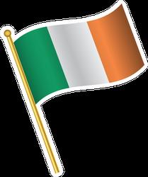 Tilted Flag Of Ireland Sticker