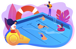 Tiny Adult People Swimming In The Pool Sticker