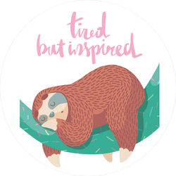 Tired But Inspired Sleeping Sloth Sticker