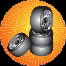Tires On Starburst Sticker