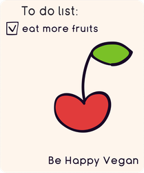 To Do Eat More Fruits Happy Vegan Cherry Sticker