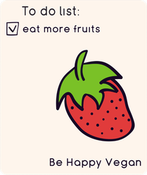 To Do Eat More Fruits Happy Vegan Strawberry Sticker