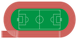 Top View Of Running Track And Soccer Field Sticker