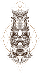 Totem Eagle, Wolf, Fox And Owl Sticker
