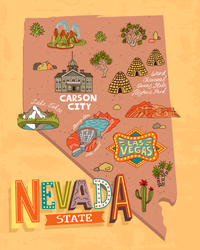 Tourist Map Of Nevada Sticker