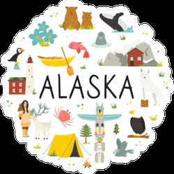 Tourist Poster With Famous Landmarks Of Alaska Sticker
