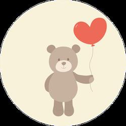 Toy Teddy Bear With Heart Balloon Sticker