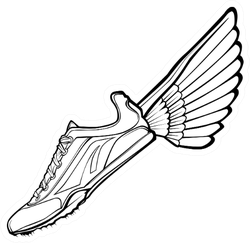 Track Shoe With Wing Illustration Sticker