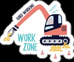Tractor Brick Pontoon Work Text Illustration Sticker