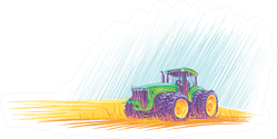 Tractor In Field Colorful Illustration Sticker
