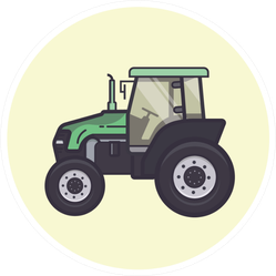 Tractor, In Pale Green Circle Sticker