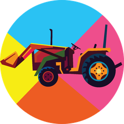 Tractor On Colorful Pop Art Style Sticker