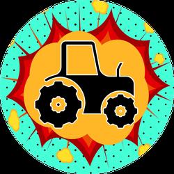 Tractor Sign, Pop Art Explosion Illustration Sticker