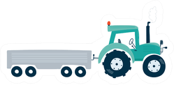 Tractor With Trailer Icon Kids Illustration Sticker