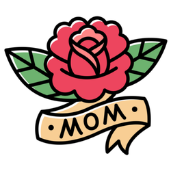 Traditional American Style Rose Mom Tattoo
