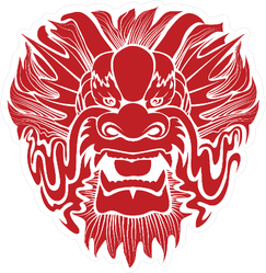 Traditional Asian Dragon Face Sticker