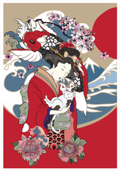 Traditional Japanese Wave Poster Sticker