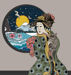 Traditional Japanese Woman And Wave Poster Sticker