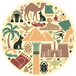 Traditional Symbols Of Egypt In The Form Of A Circle Sticker