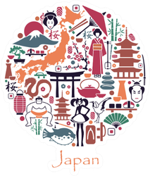 Traditional Symbols Of The Japanese Architecture And Culture Sticker