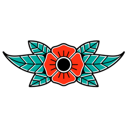 Traditional Tattoo Flower Sticker