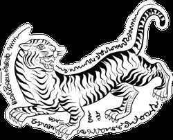 Traditional Thai Tiger Tattoo Sticker