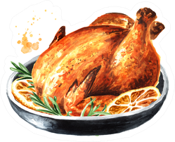 Traditional Thanksgiving Roasted Turkey Watercolor Sticker