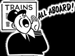 Train Conductor - Retro Illustration All Aboard Sticker
