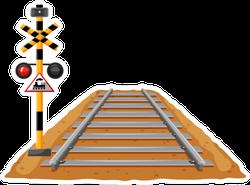 Train Track And Light Signal Pole Illustration Sticker