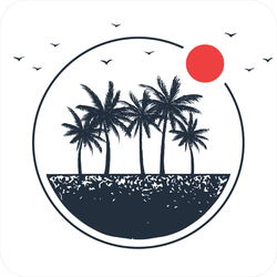 Travel Badge With Palm Trees Sticker