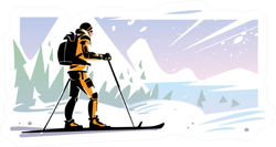 Traveler Ski On The Slope In Mountains Sticker