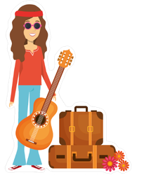 Traveling Hippie with Guitar Sticker