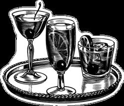 Tray Of Cocktails Retro Sticker