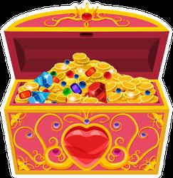 Treasure Chest Full Of Diamonds, Gold, Jewels Sticker