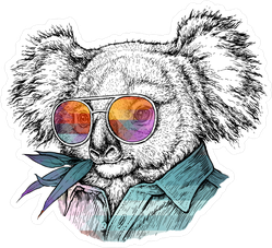 Trendy Portrait Of Koala Bear In Glasses Sticker