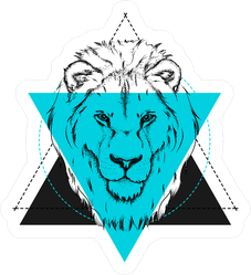 Triangle Lion Illustration Sticker