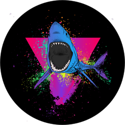 Triangle Shark Retro Sticker