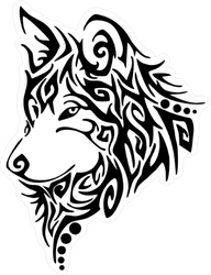 Tribal Black Wolf Sticker