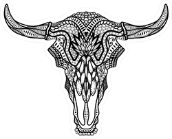 Tribal Bull Skull With Horns Sticker