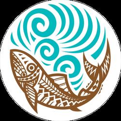 Tribal Fish Wave Circle Sticker