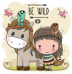 Tribal Girl And Horse With Feather Sticker